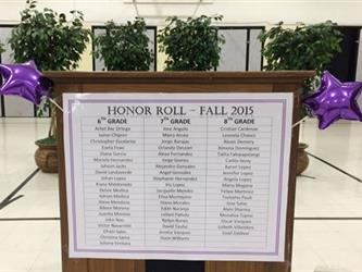 Honor Roll 2015 Plaque with the names of all the students who received the award.
